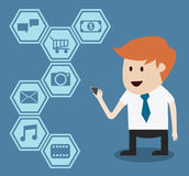 Businessman with mobile phone and application Royalty Free Stock Image