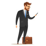 Businessman with mobile phone in hand. Businessman with a smartphone in his hand. In a standing position. The suitcase is on the floor. Isolated on white Royalty Free Stock Image