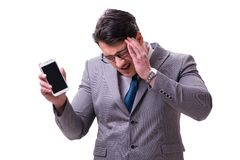 The businessman with mobile phone isolated on white. Businessman with mobile phone isolated on white stock images