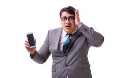 The businessman with mobile phone isolated on white. Businessman with mobile phone isolated on white royalty free stock photography