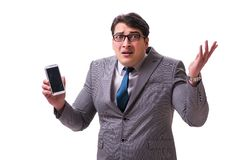 The businessman with mobile phone isolated on white. Businessman with mobile phone isolated on white royalty free stock photo