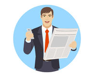 Businessman with mobile phone and newspaper Royalty Free Stock Photo