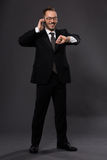 Businessman with mobile Stock Image