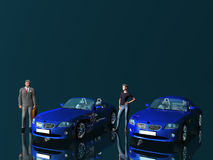 Businessman and model with cars.. Royalty Free Stock Images