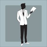 Businessman in modern clothes reads the report. Icon symbol stock illustration