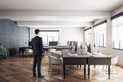 Businessman in modern meeting room royalty free illustration