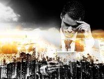 Businessman and modern megapolis Stock Photography