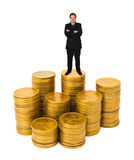 Businessman on money Stock Photography