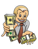 Businessman with money. Cheerful businessman with money as a success concept Royalty Free Stock Photo