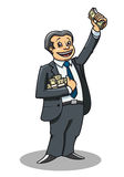 Businessman with money. Cheerful businessman with money as a success concept Royalty Free Stock Photography
