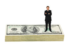 Businessman on money. Isolated on white background royalty free stock photo