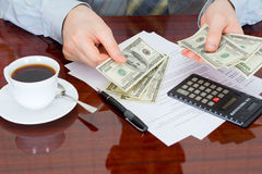 The businessman with money Royalty Free Stock Images