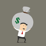 Businessman with money bag cartoon character Royalty Free Stock Photos