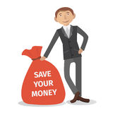 Businessman with money bag. Vector illustration of businessman in suit with money bag. Title save your money eps8 Stock Images