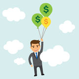 Businessman with money balloons in the sky Stock Photos
