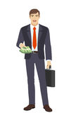 Businessman with money and briefcase Royalty Free Stock Images