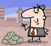 Businessman with money cartoon illustration Royalty Free Stock Image