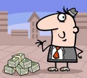 Businessman with money cartoon illustration Royalty Free Stock Image