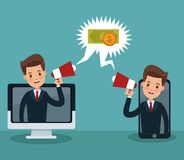 Businessman and money cartoons. Businessmens promoting online business vector illustration graphic design Royalty Free Stock Images