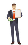 Businessman with money and clipboard Stock Images