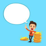 Businessman and money coins with white speech bubble. For design Royalty Free Stock Image