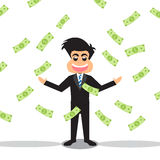 Businessman With Money Falling. Stock Images