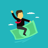 The businessman on money flies in the sky. Commercial profit success icon in the cartoon style. Stock Photography