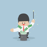 Businessman with money flying from magic hat. VECTOR, EPS10 Royalty Free Stock Image