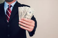 A businessman with money stock photography