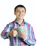 Businessman with money holding thumbs up Royalty Free Stock Photo