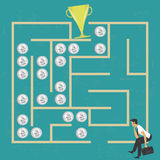 Businessman in a money labyrinth Stock Images