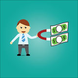 Businessman Money Magnet Royalty Free Stock Images