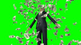 Businessman and Money Rain on a Green Background. 3d Animation. Ultra HD 4K 3840x2160
