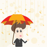 Businessman and Money Rain Royalty Free Stock Image