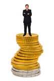 Businessman on money stack. Isolated on white background Royalty Free Stock Images