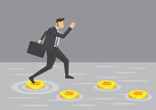 Businessman and Money Stepping Stones Vector Illustration Stock Photo