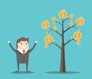 Businessman and money tree. Happy businessman near tree with gold dollar coins. Investment, income and achievement concept. Flat design. EPS 8 vector Royalty Free Stock Photography