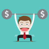 businessman with money workout Stock Photos
