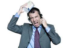 Businessman moneybox shouting on phone Royalty Free Stock Photo
