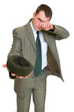 Businessman moocherwith. Hat asks for money isolated on white Stock Photos