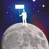 Businessman on the moon Stock Photography