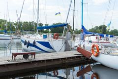 Businessman moored his yacht at river marine. Successful man in dock. stock images