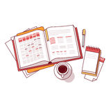 Businessman morning day schedule notebook Stock Images