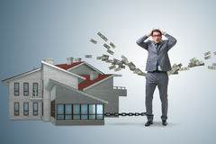 The businessman in mortgage debt financing concept Stock Images
