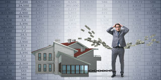 The businessman in mortgage debt financing concept Royalty Free Stock Photography