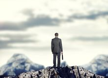 Businessman on mountain top. Businessman standing on mountain top holding suitcase, rear view Royalty Free Stock Photo