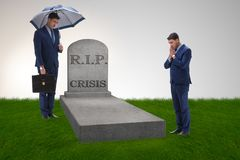 The businessman mourning the crisis in economy. Businessman mourning the crisis in economy Stock Photography