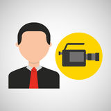 Businessman movie camcorder icons Royalty Free Stock Photos