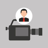 Businessman movie camcorder icons Royalty Free Stock Images