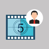 Businessman movie countdown numbers icons Royalty Free Stock Photo